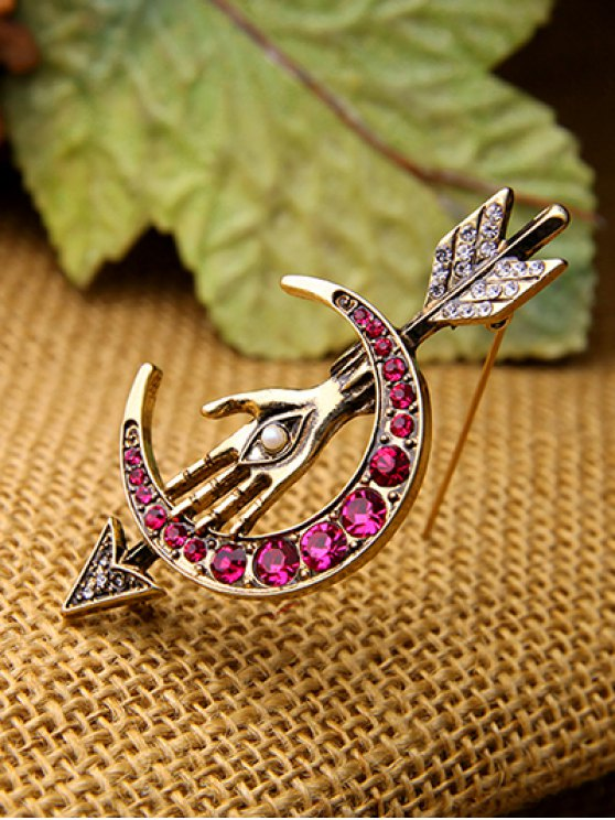 Faux Pearl Rhinestone Moon Arrow Brooch -   Mobile