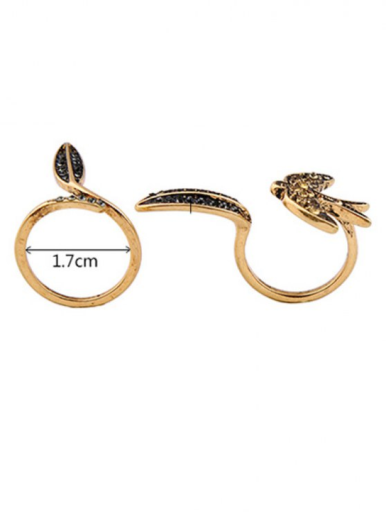 Rhinestone Leaf Bird Cuff Ring Set -   Mobile