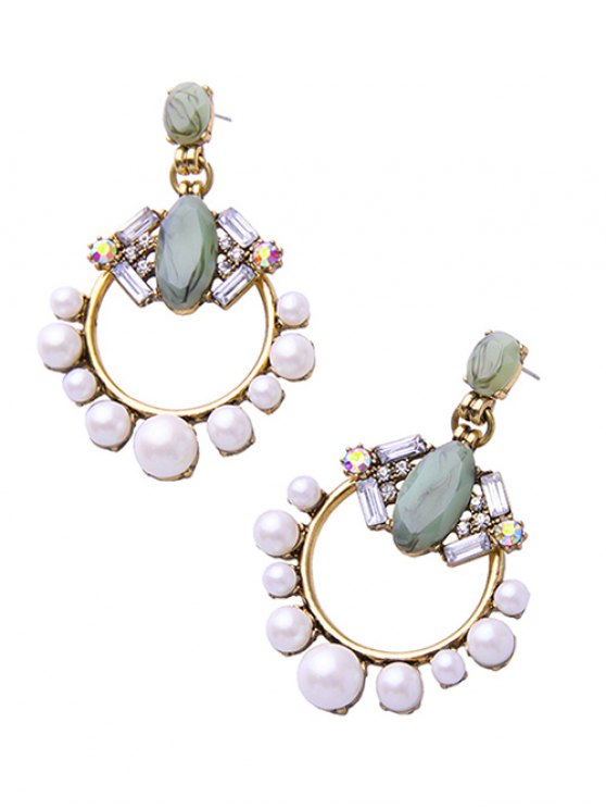 Faux Pearl Gem Circle Drop Earrings - WHITE  Mobile