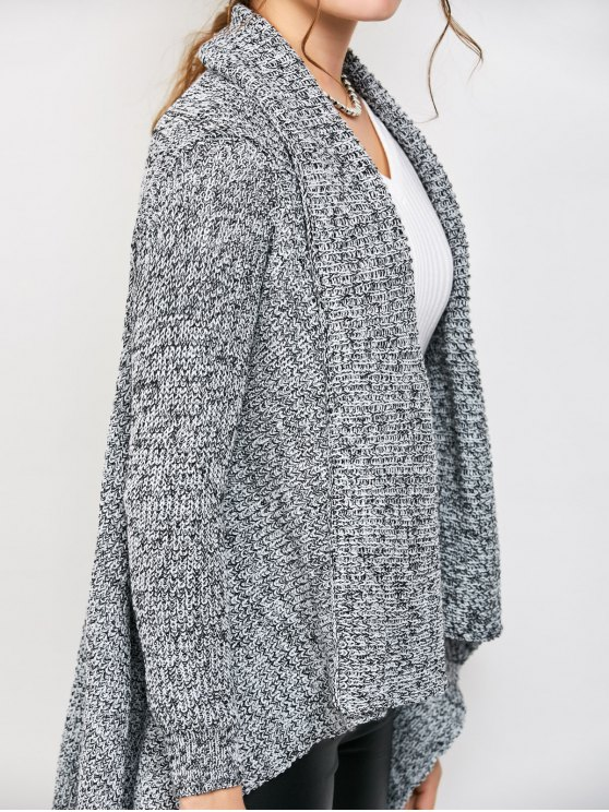 Drape Long Chunky Cardigan - GRAY ONE SIZE Mobile