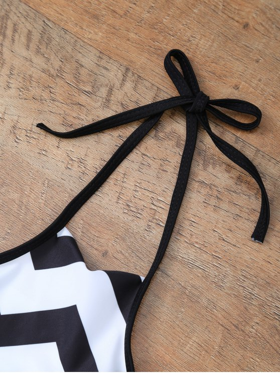 Chevron Stripe Halter Bikini - WHITE AND BLACK L Mobile