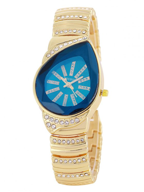 Rhinestone Water Drop Quartz Watch - BLUE  Mobile
