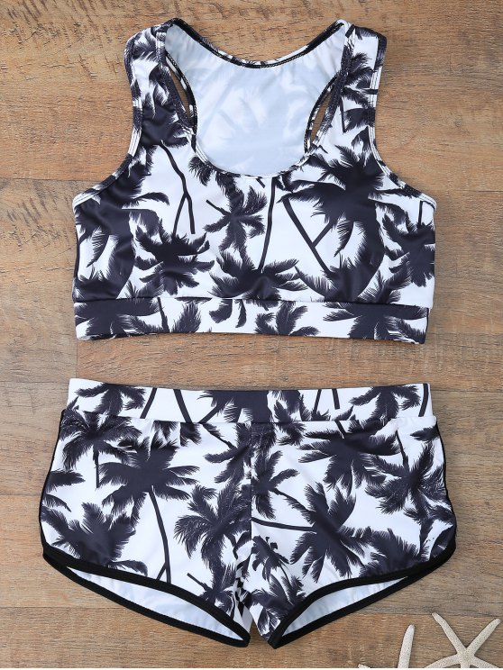 Palm Tree Print Boyshort Bikini - WHITE AND BLACK L Mobile