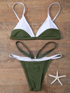 Color Block V String Bathing Suit - Army Green L