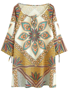 Printed Ralgan Sleeve Mini Tunic Dress - Brown S