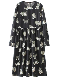 Kittens Print Long Sleeve Smock Dress - Black S