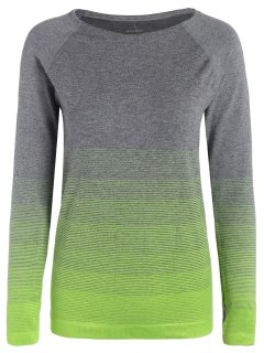 Long Sleeved Ombre Sports Tee - Neon Green S