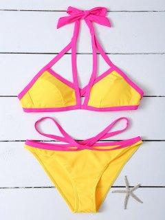Contrasting Piped Strappy Bikini - Yellow M