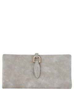 Metal Embellished Bi Fold Clutch Wallet - Light Khaki