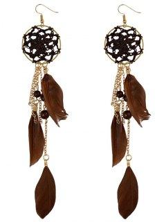 Beads Feather Bohemian Drop Earrings - Brown