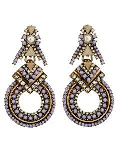 Faux Pearl Rhinestone Beaded Geometric Earrings - Purple
