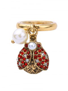 Rhinestone Faux Pearl Insect Ring - Golden One-size