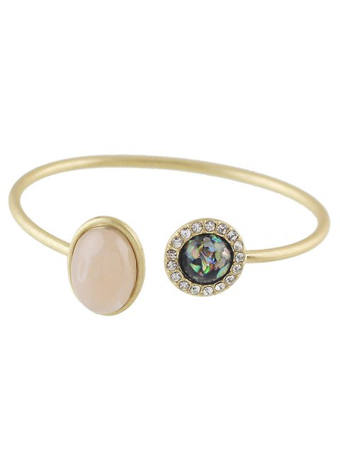 sale Artificial Gem Vintage Rhinestone Cuff Bracelet - GOLDEN  Mobile
