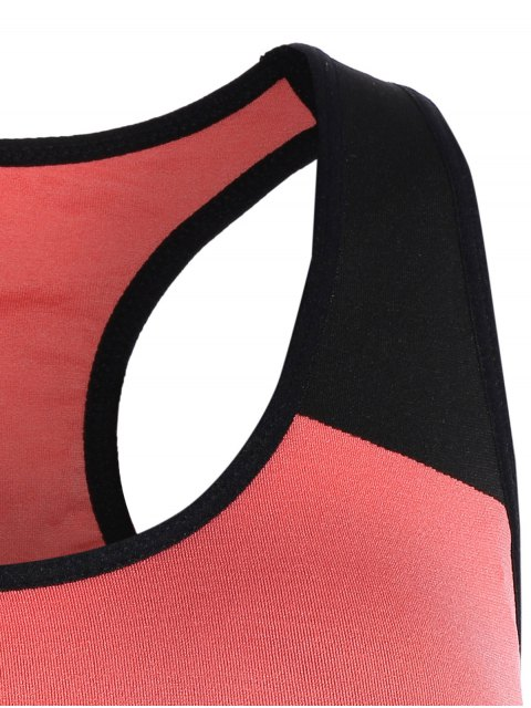 shop Seamless Cotton Pullover Sports Bra - BLACK AND PINK XL Mobile