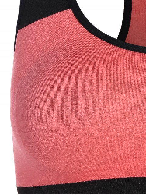 shops Seamless Cotton Pullover Sports Bra - BLACK AND PINK L Mobile