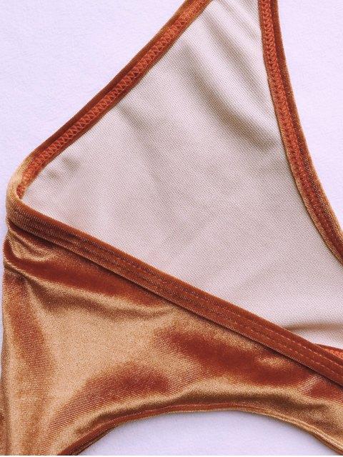 shop Cut Out Velvet One-Piece Swimwear - GOLD BROWN L Mobile