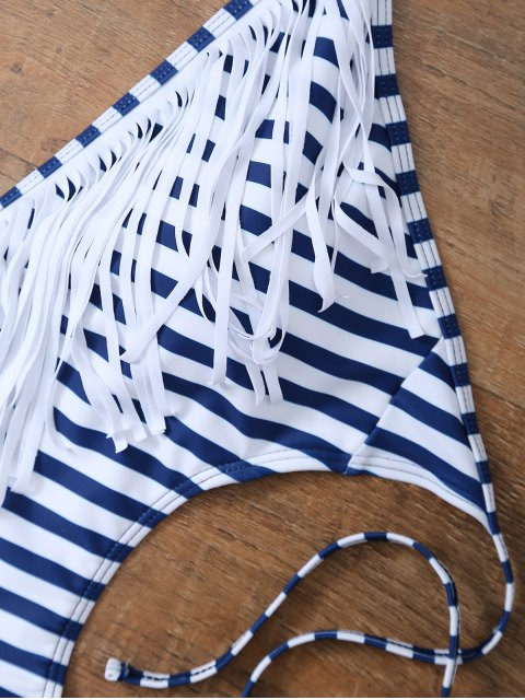 fancy Striped High Cut Tassels One-Piece Swimwear - BLUE AND WHITE M Mobile