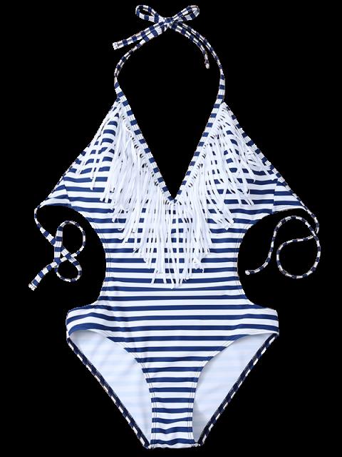 unique Striped High Cut Tassels One-Piece Swimwear - BLUE AND WHITE S Mobile