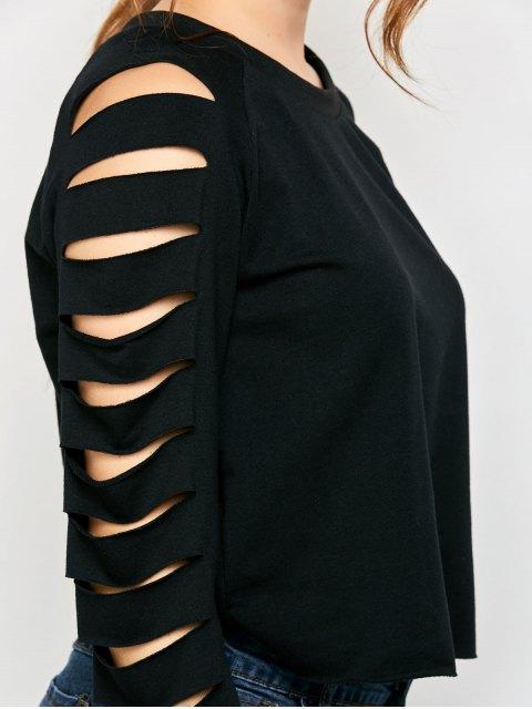 women's Fitting Ripped Sleeve T-Shirt - BLACK L Mobile
