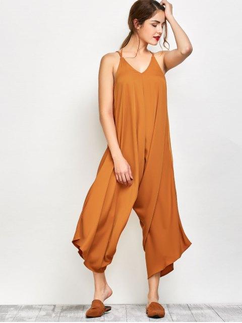 outfit Crosscriss Asymmetric Chiffon Jumpsuit - GINGER S Mobile