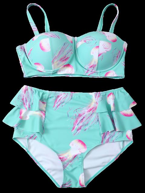 fashion Push Up Printed Flounced Bikini Set - LIGHT BLUE 2XL Mobile