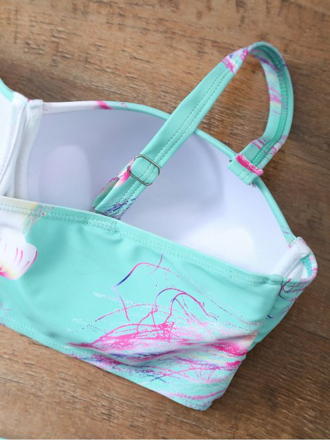 fancy Push Up Printed Flounced Bikini Set - LIGHT BLUE L Mobile