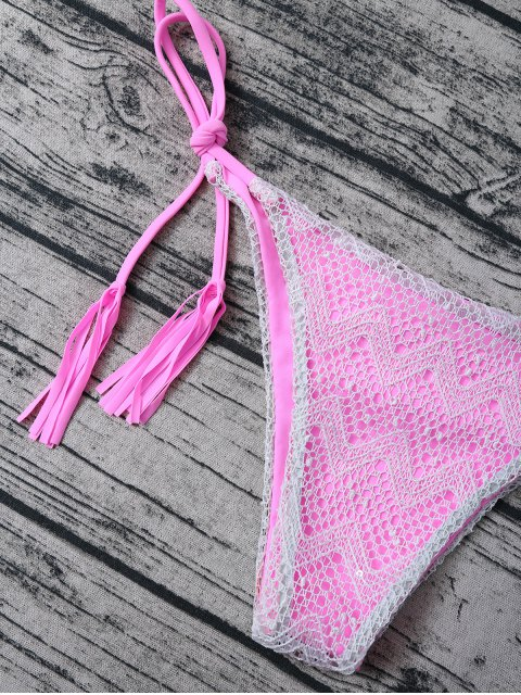 unique Tassel String Lace Thong Bikini - PINK L Mobile