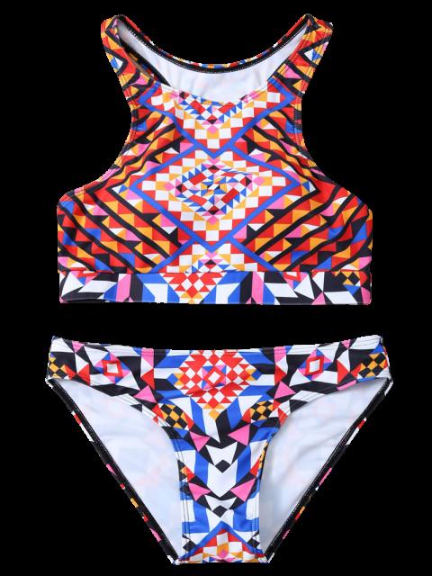 affordable Geometric Ethnic Style Bikini Set - COLORMIX M Mobile