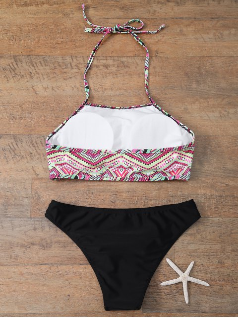 chic Halter Bikini Set With Diamond Print - BLACK M Mobile