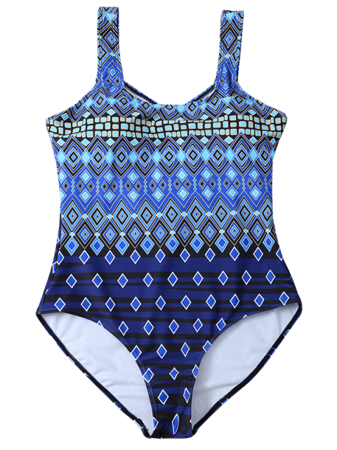 sale Plus Size Crosscriss Printed One-Piece Swimwear - BLUE L Mobile