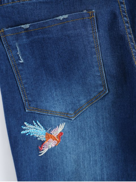 fashion Zip Fly Flower Embroidered Jeans - DENIM BLUE L Mobile