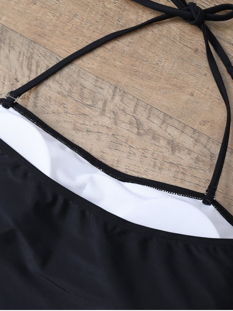affordable Plus Size Diamond Print One-Piece Swimwear - WHITE AND BLACK 3XL Mobile