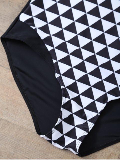 women Plus Size Diamond Print One-Piece Swimwear - WHITE AND BLACK L Mobile