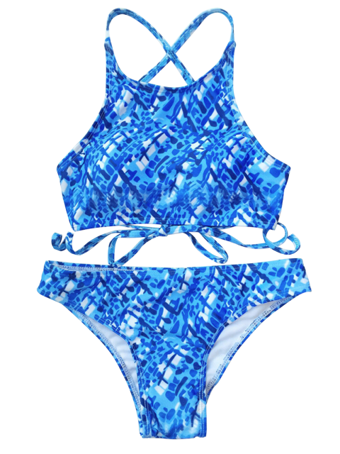 latest Crisscross Back High Neck Printed Bikini - BLUE AND WHITE M Mobile