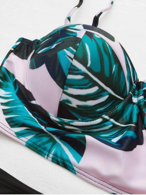 lady Push Up Tropical Print Underwire Bikini - BLACK S Mobile
