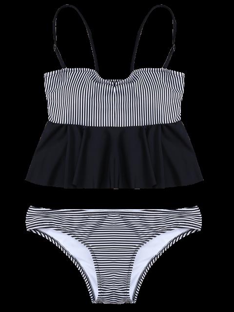 new Flounced Striped Bikini Set - BLACK S Mobile