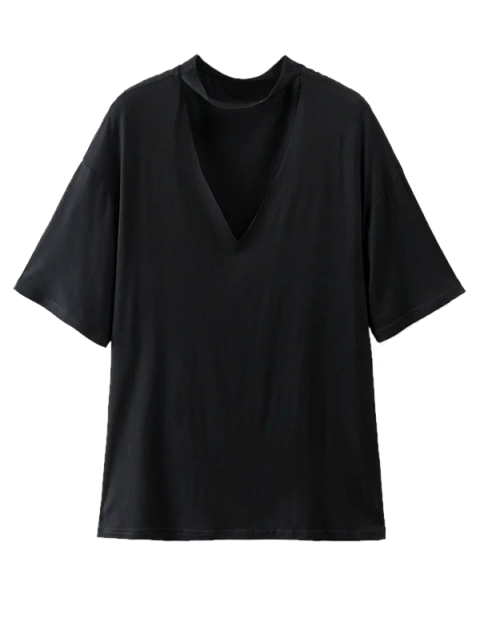 shops Choker Drop Shoulder T-Shirt - BLACK M Mobile