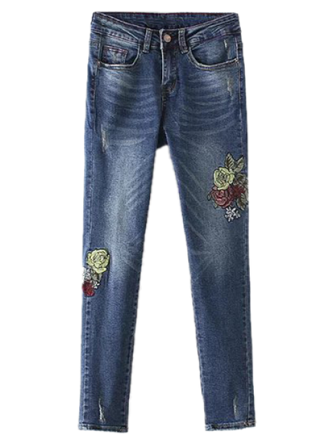 shop Dark Wash Frayed Floral Embroidered Jeans - DEEP BLUE L Mobile
