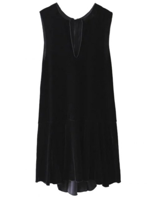 buy Frill Hem Velvet Tank Dress - BLACK M Mobile