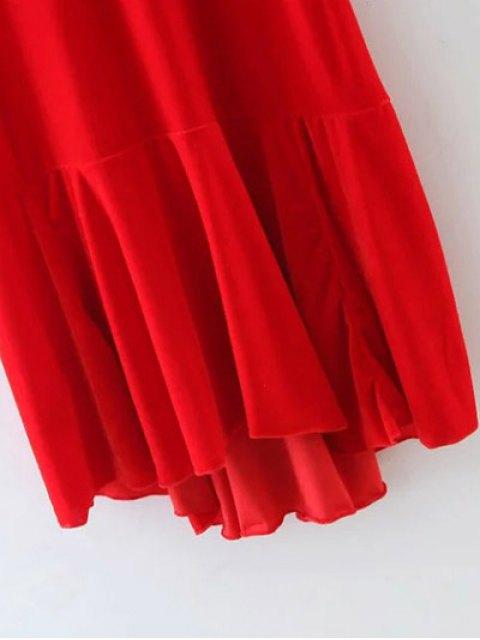 fancy Frill Hem Velvet Tank Dress - RED L Mobile