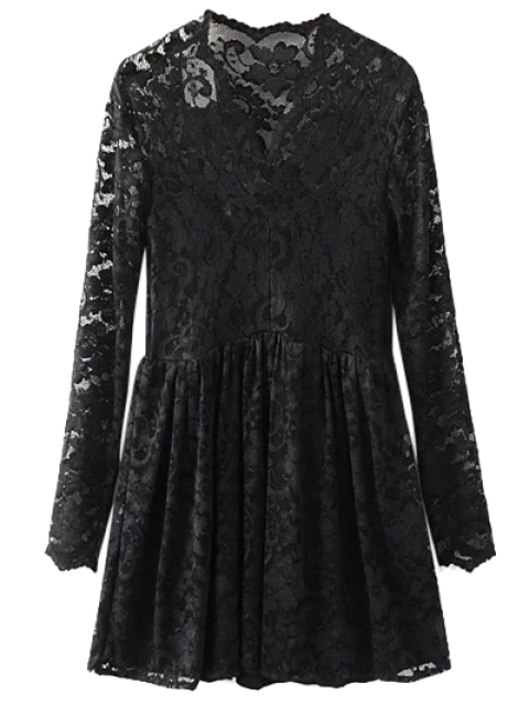 outfit Lace V Neck Dress - BLACK M Mobile