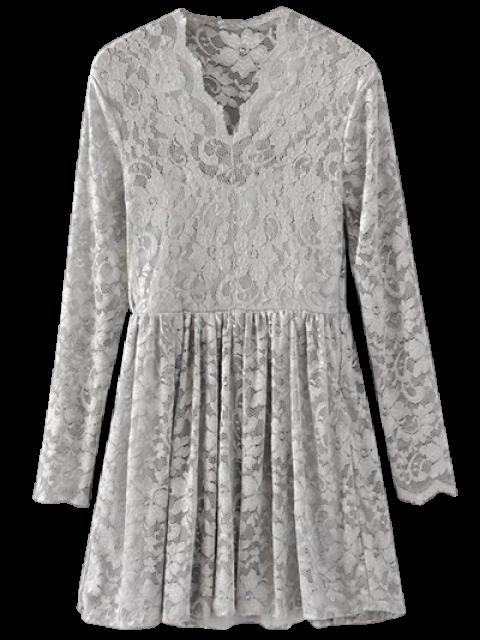 online Lace V Neck Dress - GRAY M Mobile