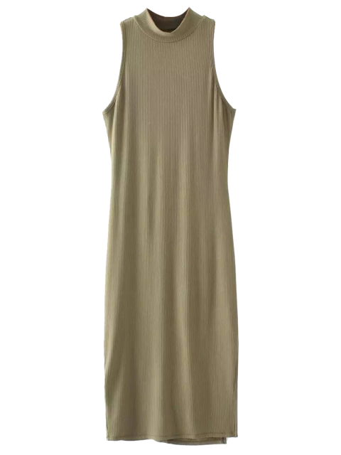 new Slit Sleeveless Bodycon Ribbed Dress - OLIVE GREEN ONE SIZE Mobile