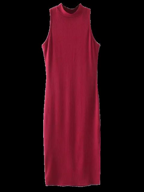 Robe côtelée avec fentes longues aux côtées sans manche - Bourgogne TAILLE MOYENNE Mobile