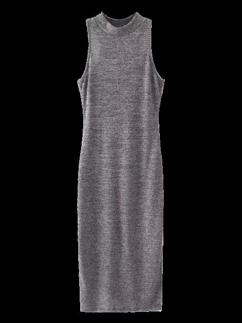 women Slit Sleeveless Bodycon Ribbed Dress - GRAY ONE SIZE Mobile