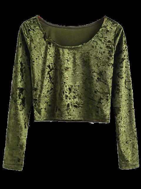 buy Vintage Scoop Neck Velvet Crop Top - ARMY GREEN S Mobile
