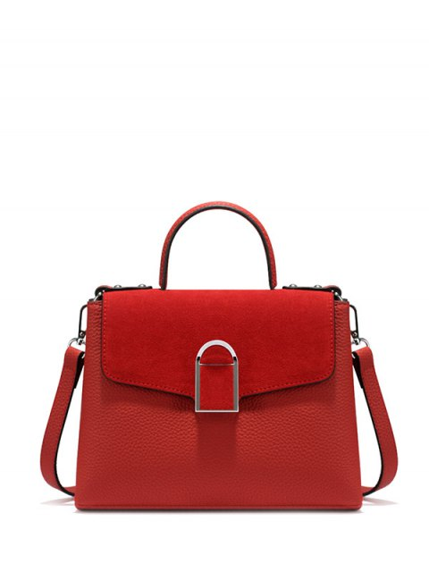ladies Suede Panel Flapped Handbag - RED  Mobile