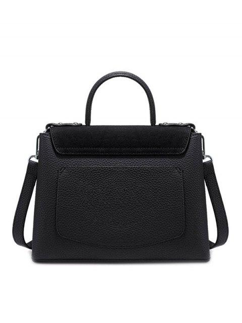 best Suede Panel Flapped Handbag - BLACK  Mobile