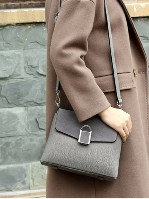 online Suede Panel Flapped Handbag - GRAY  Mobile