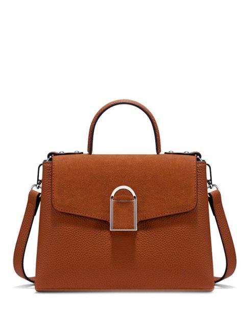 new Suede Panel Flapped Handbag - BROWN  Mobile